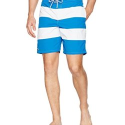 Lacoste Men's Elastic Waist Bold Stripe Swim Trunk, Sapphire Blue/White, S