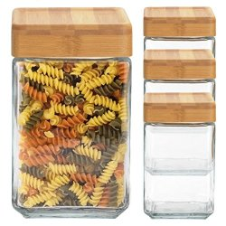 Anchor Hocking (4 Pack) 48 Ounce Glass Jars Container Bamboo Lid Airtight Seal Stackable