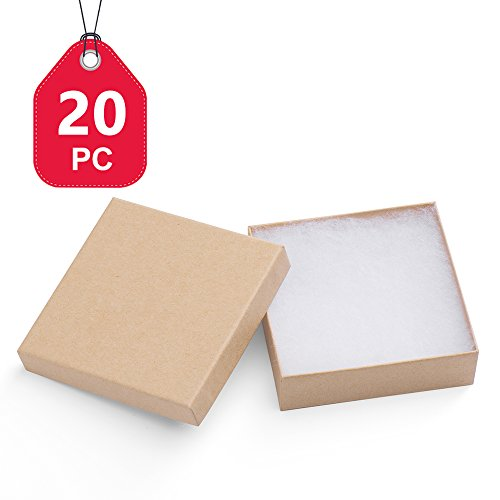 Mesha Jewelry Boxes 3 5x3 5x1 Inches Paper Gift Boxes 33 Natural Brown Cardboard Bracelet Boxes With Cotton Filled Pack Of 20 Best Offer