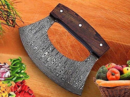 RK-TTC-109 Handmade Demascus Ulu kitchen Knife - Rose Wood Handle