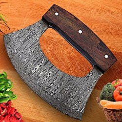 RK-TTC-109 Handmade Demascus Ulu kitchen Knife - Rose Wood Handle