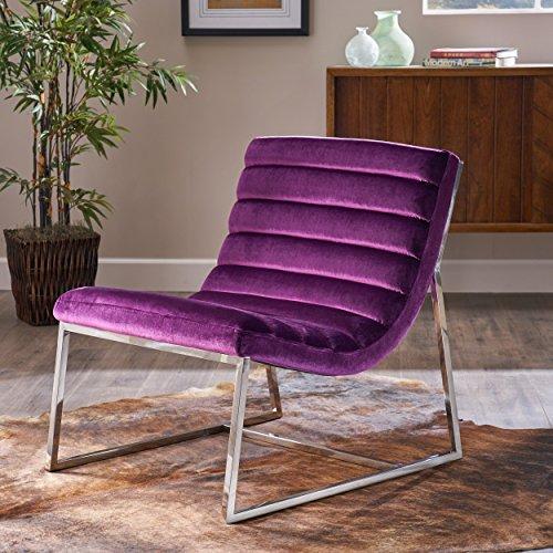 Felicia Parisian Modern Eggplant Velvet Sofa Chair