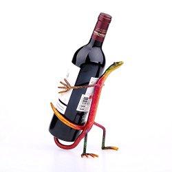 Tooarts Gecko Wine Rack Wine shelf Metal sculpture Home decoration Crafts