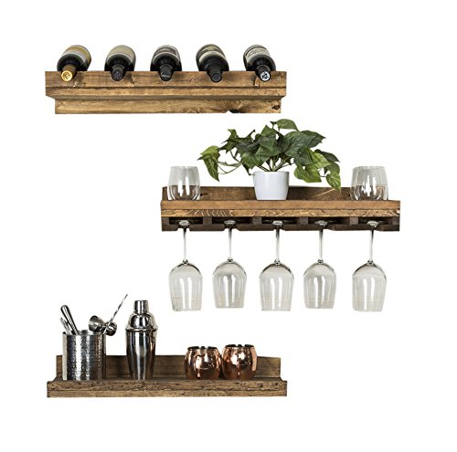 del Hutson Designs - Rustic Luxe Floating Wine Shelf & Glass Rack Set, USA Handmade, Pine Wood, Set of 3 (dark walnut)