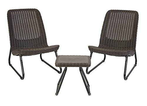 Keter Rio 3 Pc All Weather Outdoor Patio Garden Conversation Chair & Table Set