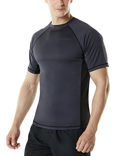 Large Tesla Men's Swim Shirt Loose-Fit Swim Tee Rashguard Top