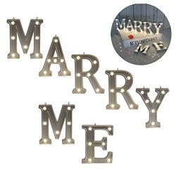 """Valentine gift – Light Up Marry Me Sign with Warm White Leds - Proposal Sign - Will You Marry Sign - Wedding sign - Engagement Sign - Romantic Proposal – 4.21"""" Tall Silver Color - MARRY ME"""