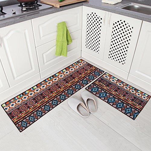 Carvapet 2 Piece Non-Slip Kitchen Mat Runner Rug Set Doormat Vintage Design Bohemia Style, Brown
