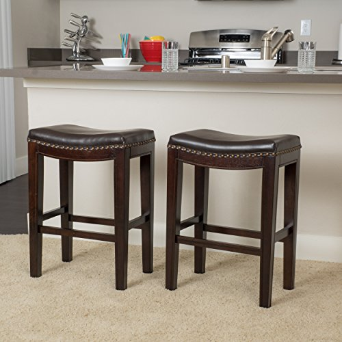 Great Deal Furniture Jaeden | Backless Faux Leather Counter Stool | Set of 2 | in Brown