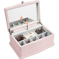 JewelKeeper Girls Wooden Musical Jewelry Box, Classic Design with Ballerina and Mirror, Swan Lake Tune, Rose Pink