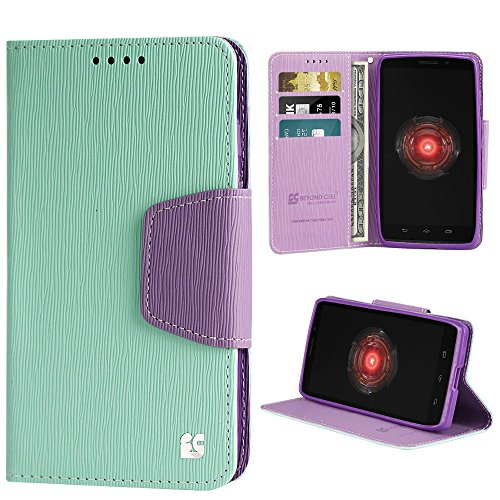 Beyond Cell PU Leather Folio Flip Cover Wallet Phone Case With Stand for Motorola Droid Maxx 1080M - Mint/Purple