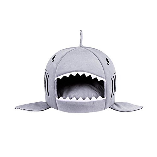 Spring fever Shark Pet Bed Removable Cushion Waterproof Bottom Dog Tiny House Grey M(20.520.515inch)