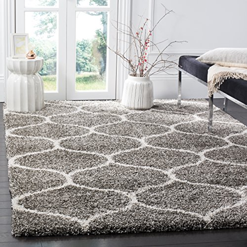 Safavieh Hudson Shag Collection Grey and Ivory Moroccan Ogee Plush Area Rug