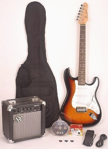 SX RST 3TS Full Size Electric Guitar Package w/GA1065 Includes Guitar, Amp, Strap and Instructional DVD