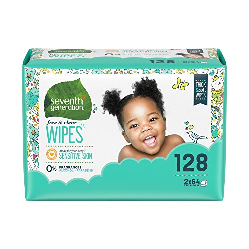 Seventh Generation Baby Wipes Refill, Free & Clear, 128 count