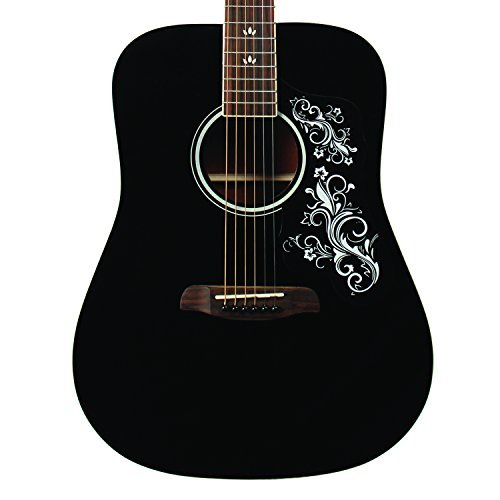 Sawtooth ST-ADN-BLK-D Acoustic Guitar with Black Pickguard & Custom Graphic
