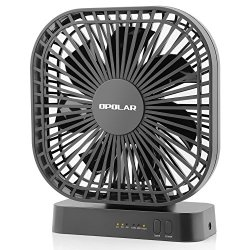 OPOLAR 5 Inch Desk Fan with Timer, USB or AA Battery Operated, 3 Speeds, Extra Quiet, 7-Blade Design, Adjustable Angle, for Office Desk, Bedroom and Outdoor (without Batteries)