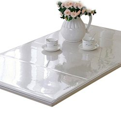 Enerhu PVC Table Cover Protector Clear Table Cloth Tablecloth Rectangular Desk Pads Mats 1.0mm Thickness Waterproof Dirtproof TransParent(160x90cm/62.99x35.43inch)
