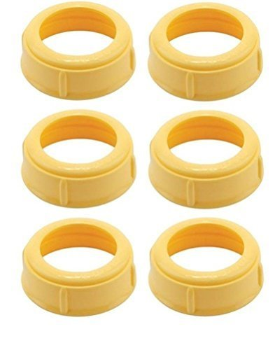 (6 Collars) MEDELA Bottle Nipple Collars Rings New! for slow or medium flow Wide Base