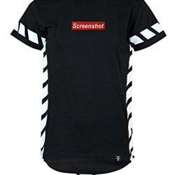 SCREENSHOT SCREENSHOTBRAND- Mens Hipster Hip-Hop Premium Tees - Stylish Longline Center Logo Latest Fashion T-Shirt Side Stripe Print-Black-Medium