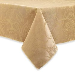 Autumn Scroll Damask Tablecloth (60 x 120 Inches, Gold Color) Oblong