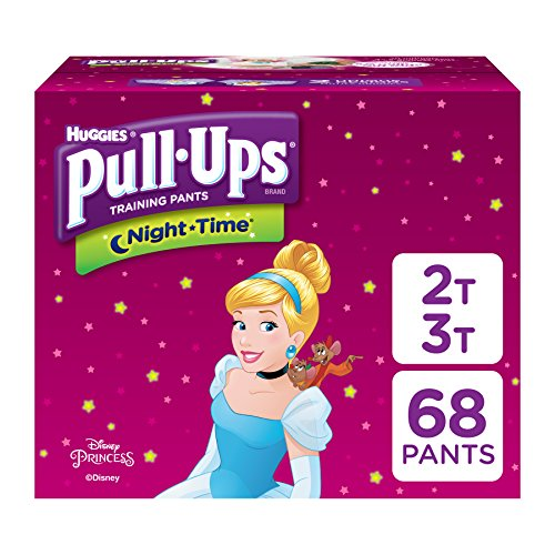 Pull-Ups Night-Time, 2T-3T (18-34 lb.), 68 Ct., Potty Training Pants for Girls, Disposable Potty Training Pants for Toddler Girls (Packaging May Vary)
