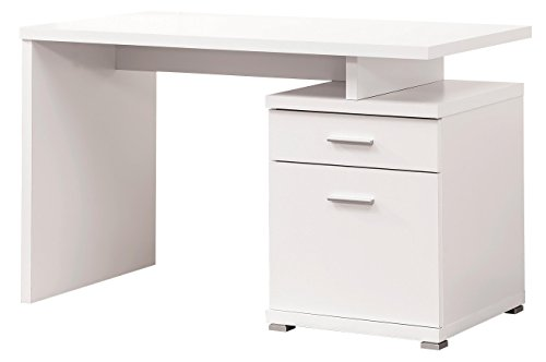 Coaster Contemporary Office Desk with Drawer, White