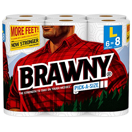 Brawny Paper Towels, Pick-a-Size, 6 Large Rolls, White