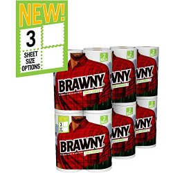 Brawny Paper Towels, Tear-A-Square Sheets Strong and Absorbent, White, 12 Count