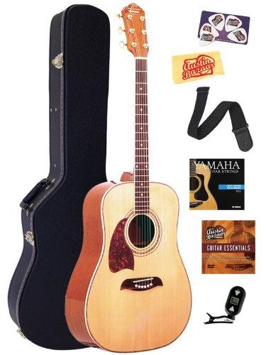 Oscar Schmidt OG2 Left-Handed Dreadnought Acoustic Guitar Bundle with Hardshell Case, Tuner, Strap, Strings, Picks, and Polishing Cloth - Natural