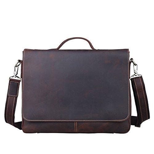 Vintage Genuine Leather Shoulder Briefcase Flapover Messenger Shoulder Bag Tote Fit 15'' Laptop (Dark Brown)