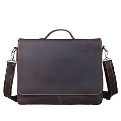 Vintage Genuine Leather Shoulder Briefcase Flapover Messenger Shoulder Bag Tote Fit 15'' Laptop (Dark Brown)