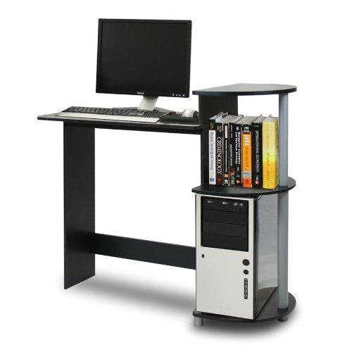 Furinno Compact Computer Desk, Black/Grey