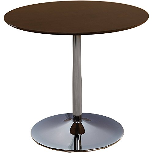 Simple Living White Chrome Metal Stand Single Pisa Dining Table White Contemporary , Espresso