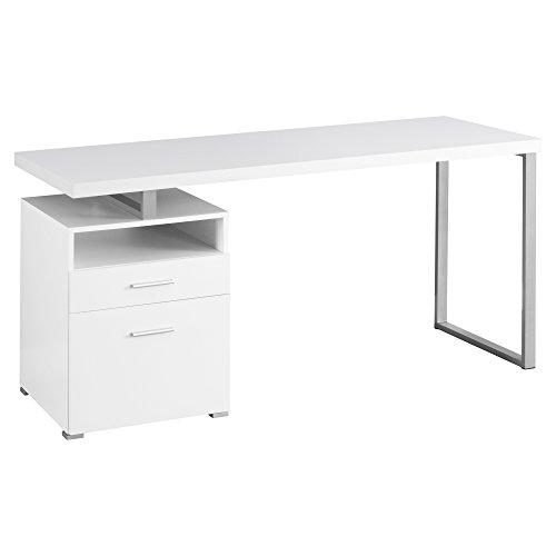 "Monarch Metal Computer Desk, White/Silver, 60"""