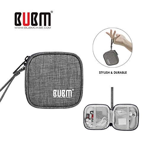 BUBM Mini Earphones Case Carrying Case for Earphone / Earpods /Earbuds / for Lightning Cable Charger Change Purse Protective Travel Pouch Cute Bag Box Portable for Accessories Carrying Bags(Grey)