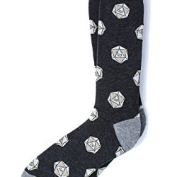 Men's Hipster Dark Charcoal Gray D2O Dice Dungeons & Dragons Novelty Crew Dress Socks