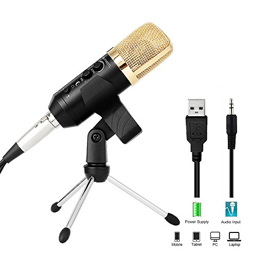 Computer Recording Microphone with Tripod Stand and Real-time Monitoring, Archeer Cardioid Podcast Studio Condenser Microphone for PC iPhone Laptop Tablet Mac, Suport iOS Android Windows Linux