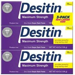Desitin Maximum Strength Zinc Oxide Diaper Rash Paste 4.8 oz. (Pack of 3)