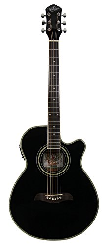 Oscar Schmidt Concert-Size Thin Body Cutaway Acoustic-Electric Guitar - Black