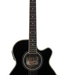 Oscar Schmidt Concert-Size Thin Body Cutaway Acoustic-Electric Guitar - Black