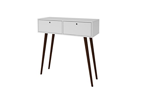 Manhattan Comfort Onsala Console Table Collection Free Standing Console Table with Storage Includes 3 Drawers and Modern Splayed Wooden Legs, White with Tobacco Legs