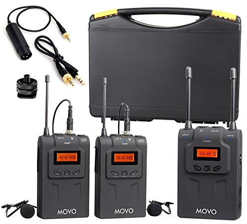 Movo WMIC80 UHF Wireless Lavalier Microphone System with 2 Bodypack Transmitters, Portable Receiver, 2 Lav Mics, and Shoe Mount for DSLR Cameras (330' Range)
