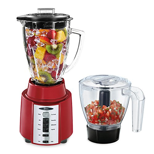 Oster Rapid Blend 8-Speed Blender with Glass Jar and Bonus 3-Cup Food Processor, Metallic Red