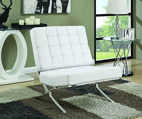 Coaster Mid-Century Modern Accent Chair with Chrome Legs, White