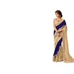 Aarah Women's Ethnic Wedding And Party Wear Awesome Color Saree Free Size Blue and Chiku