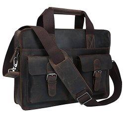 BAIGIO Men Classic Leather Laptop Briefcase Bag Shoulder Handbag Messenger Bag (Brown)