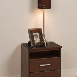Prepac Espresso Coal Harbor 2 Drawer Tall Nightstand with Open Shelf