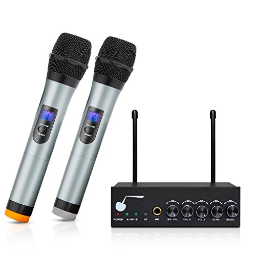"ARCHEER Bluetooth Wireless Microphone System for Karaoke Machine with 1/4"" Mic Jack, VHF Dual Channel Handheld Karaoke Microphone Church Party Cordless Mic Set for TV/Smartphone/iPad/PC/Tablet"