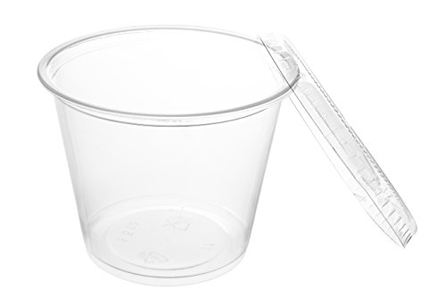 Crystalware, Disposable 5.5oz. Plastic Portion Cups with Lids, Condiment Cup, Jello Shot, Soufflé Portion, Sampling Cup, 100 Sets – Clear